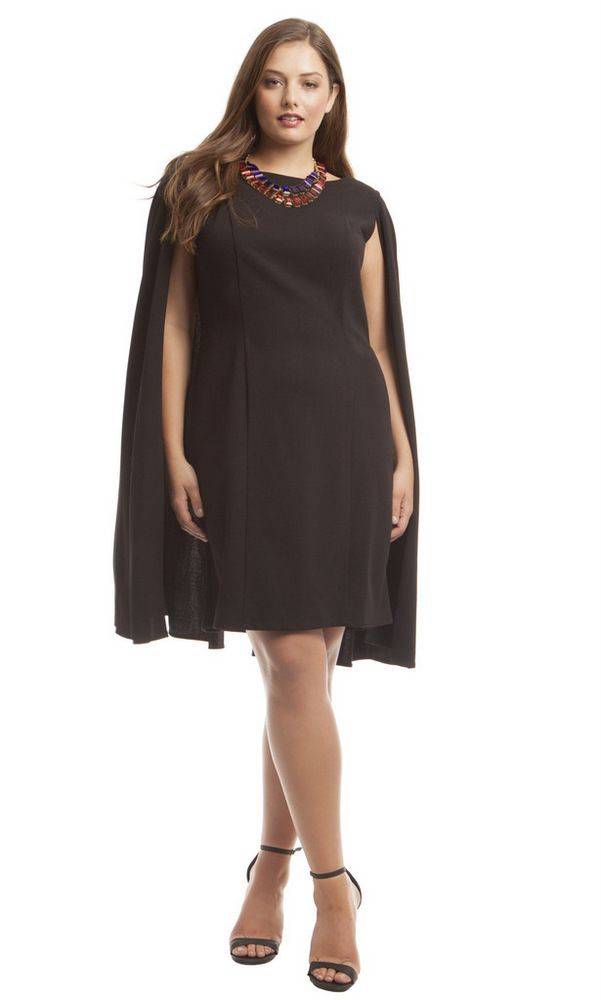 12c3e8f4 Adrianna Papell Plus Size Structured Cape Dress on The Curvy Fashionista  #TCFStyle