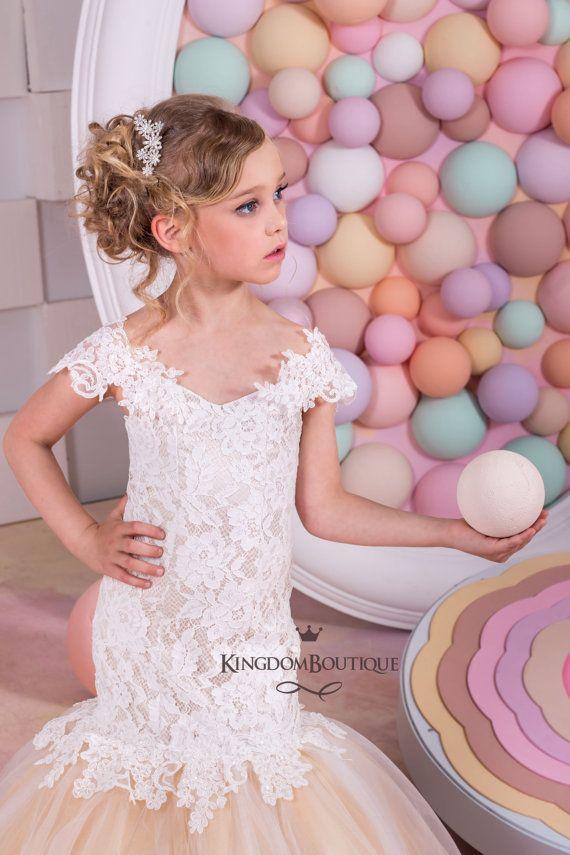 Ivory and Blush Flower Girl Mermaid style Dress -Wedding Party ...