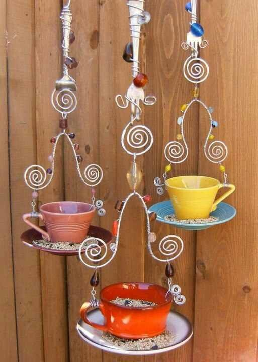 projects idea unique tea cups. cute teacup bird feeders Creative and Awesome Do It Yourself Project Ideas  Teacup
