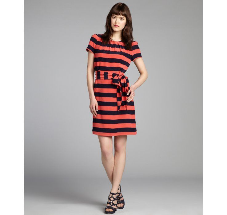 Pippa navy and coral striped silk belted short sleeve dress