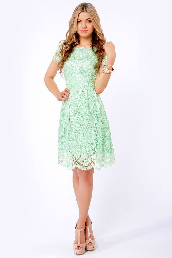 07a5059fb3 Genteel Breeze Backless Mint Lace Dress at Lulus.com!