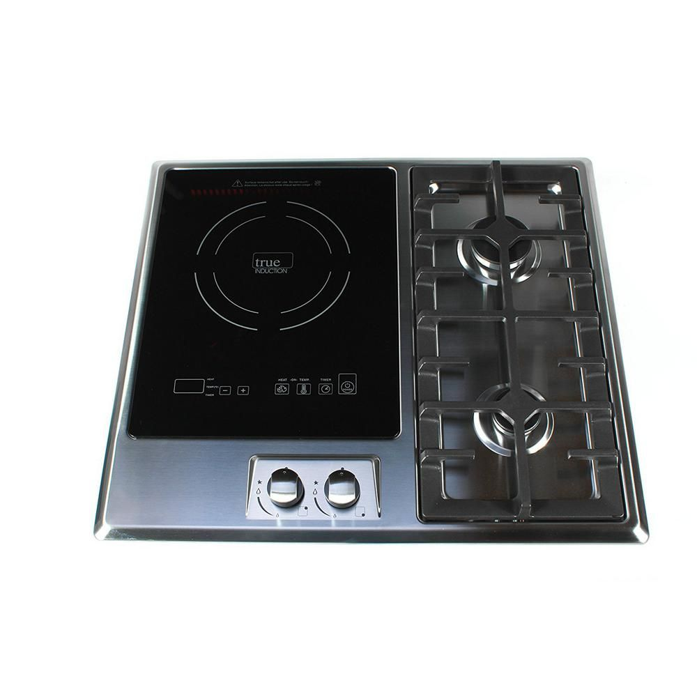True Induction 25 In Induction Gas Combo Cooktop Stainless Steel And Glass With 1 Induction 2 Gas Burners Gas Burners Gas Cooker Cooktop