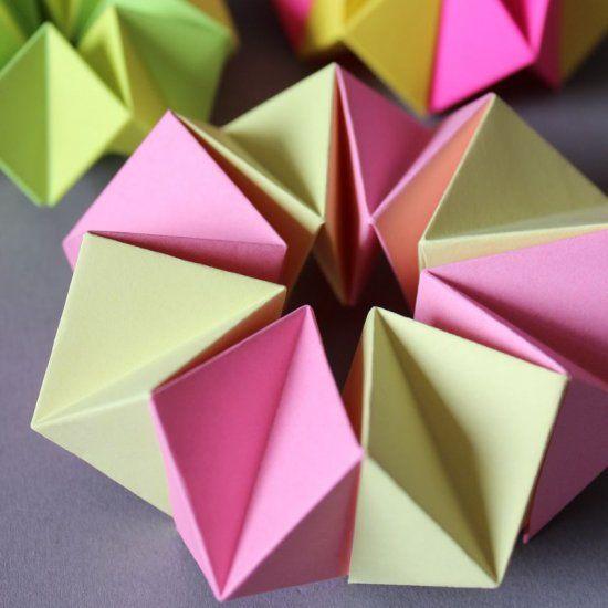 DIY – Neon Kaleidoscope, paper craft for children, tutorial in German with images