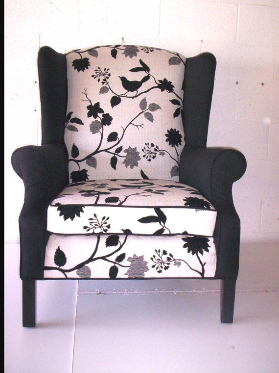 Black And White Newly Reupholstered Wingback By