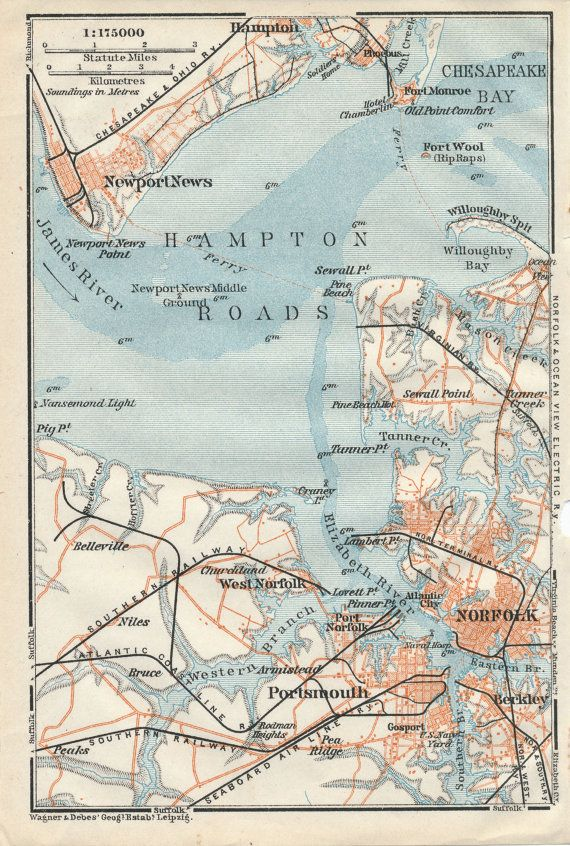 1909 Antique Map of Norfolk and Newport News Virginia by Figure10