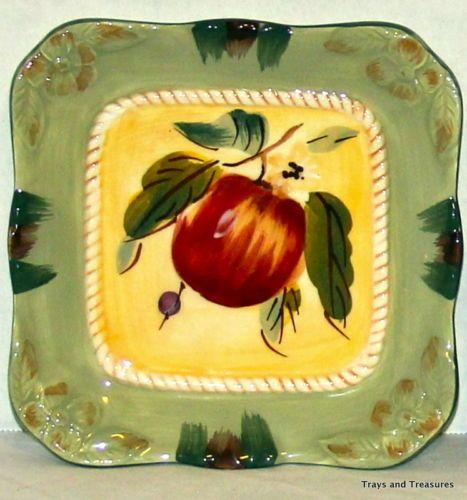 Red-Apple-Plate-Dish-Rope-Border-Ceramic-Green-Scalloped-Edges ...