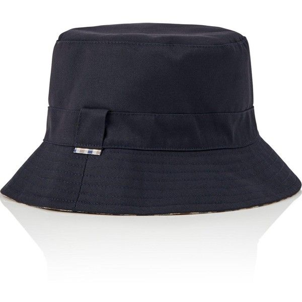 Aquascutum Reversible Bucket Hat (235 BRL) ❤ liked on Polyvore featuring accessories, hats, navy, band hats, peaked hat, bucket hats, navy hat and fishing hat