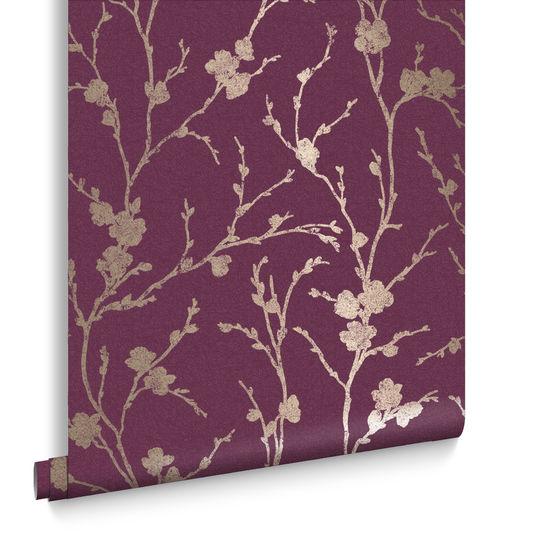 Meiying Mauve Wallpaper Purple Wallpaper Graham