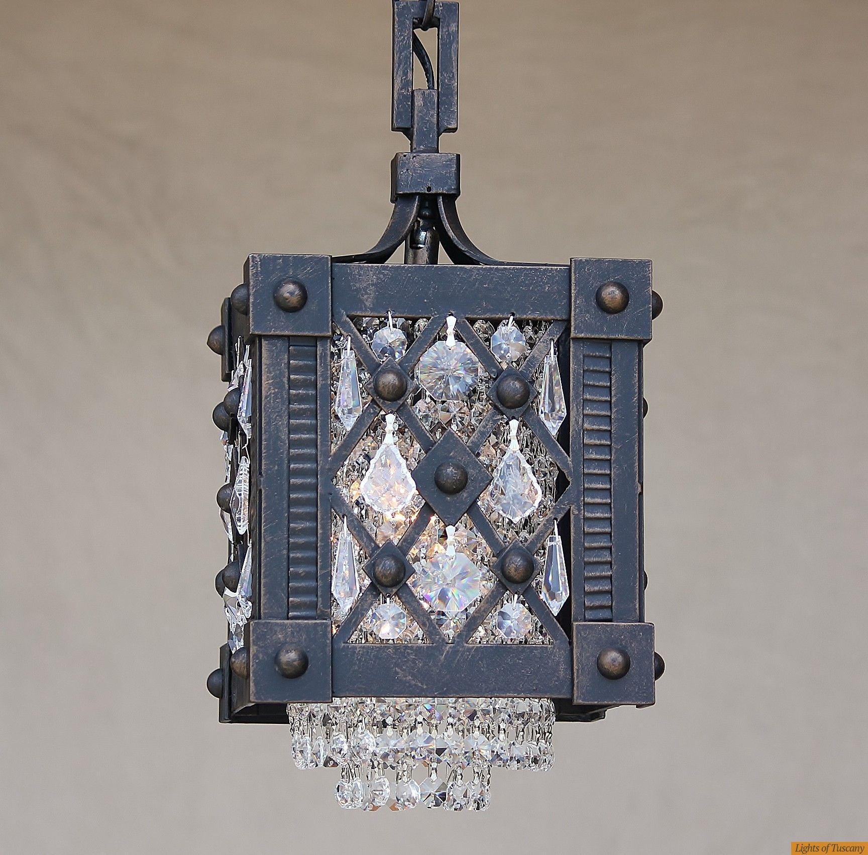 Contemporary Crystal Mini Pendant Wrought Iron Gothic Foyer
