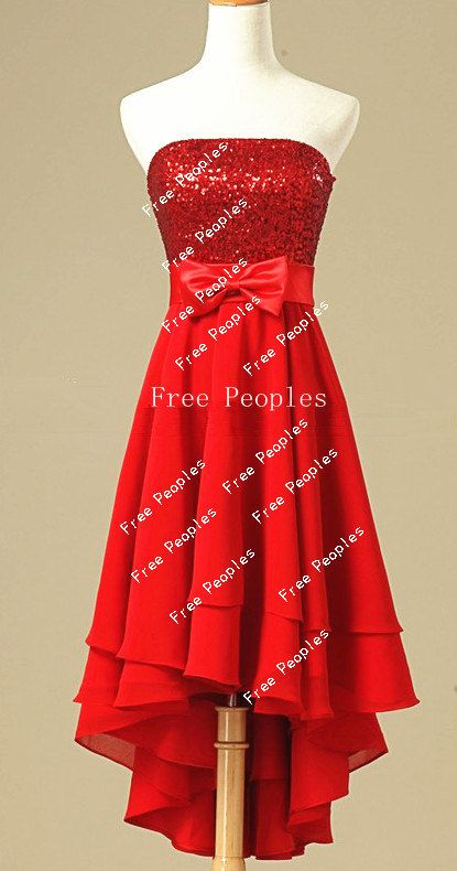 Cheap Red A line Strapless Sleeveless Corset Back High Low ...Red High Low Prom Dresses 2013