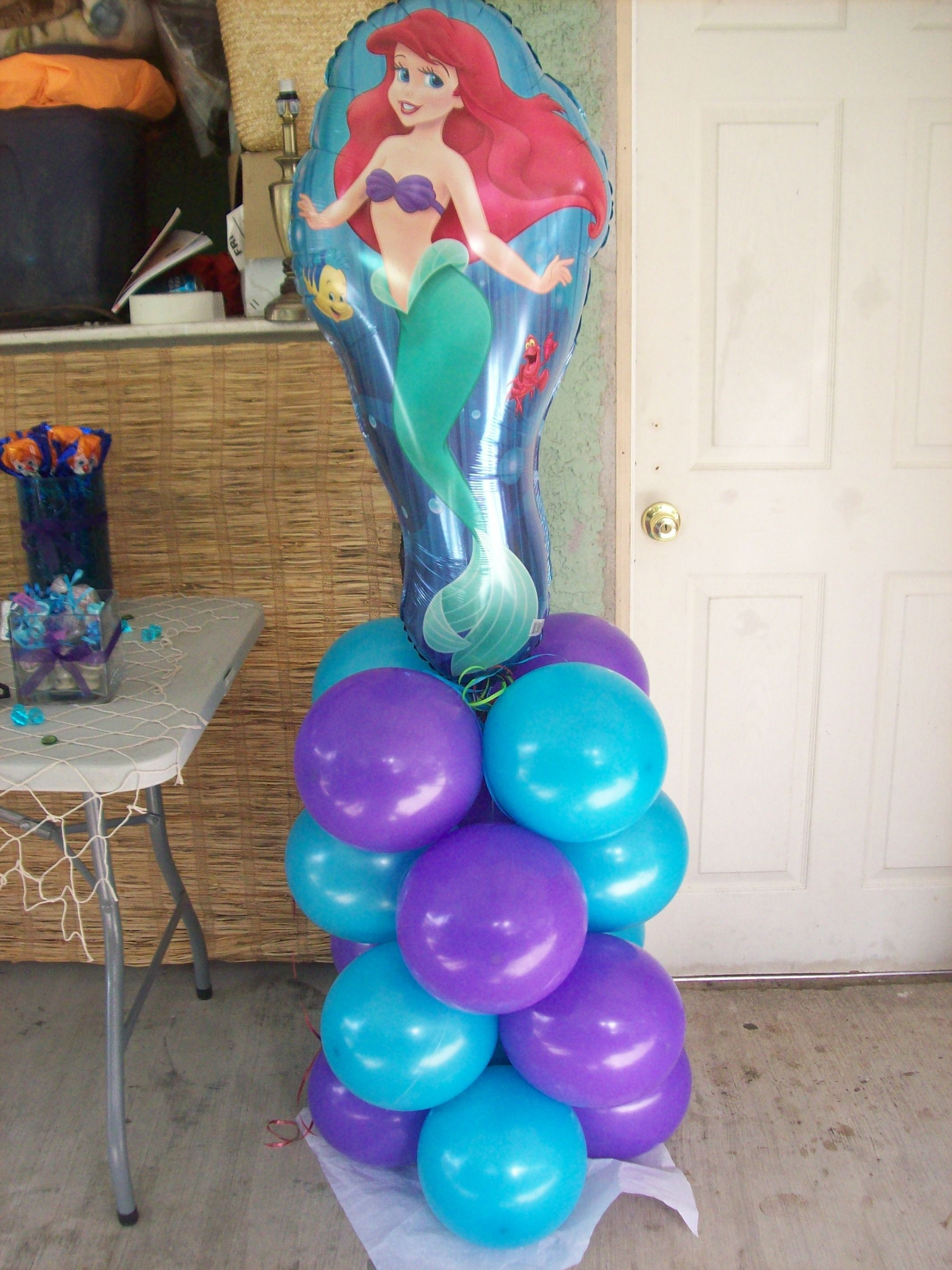 Little mermaid balloon column birthday balloon figures for Balloon column decoration