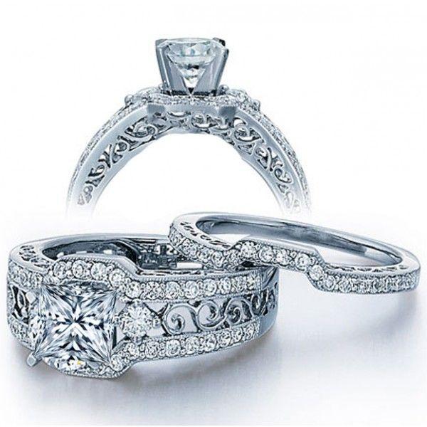 Gia Certified 2 Carat Princess Cut Diamond Vintage Wedding Ring Set
