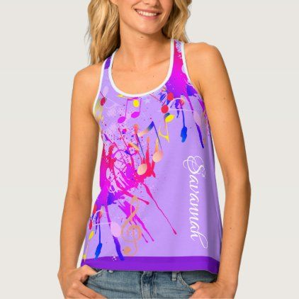 Fun Colorful Paint Splash and Music Notes on LILAC Tank Top
