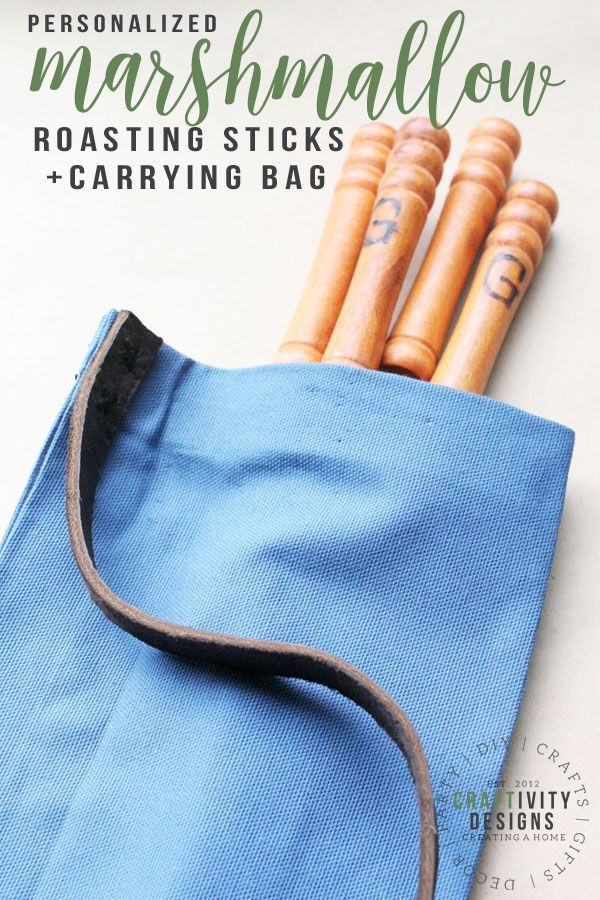 How to make easy Personalized Marshmallow Sticks (+ DIY Carrying Bag) Learn how to make a set of personalized marshmallow sticks. This quick and affordablecraft makes a great gift for him. Plus, make a nearly no-sew carrying bag to tote the smores sticks. via @craftivityd