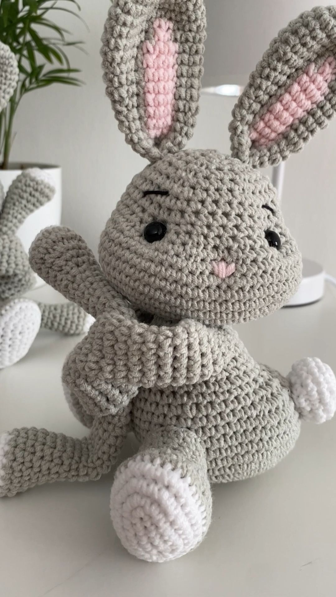 Crochet toys curtains tie back bunny toy