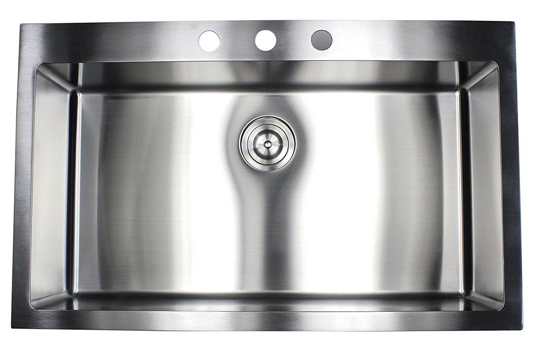 36 Inch Drop In Topmount Stainless Steel Kitchen Sink Package By Ariel 16 Gauge Single Bowl Basin W 9 Gau Single Bowl Kitchen Sink Drop In Kitchen Sink Sink
