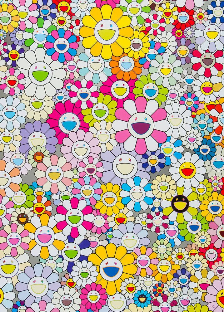 TAKASHI MURAKAMI Flowers MultiColour Canvas Print