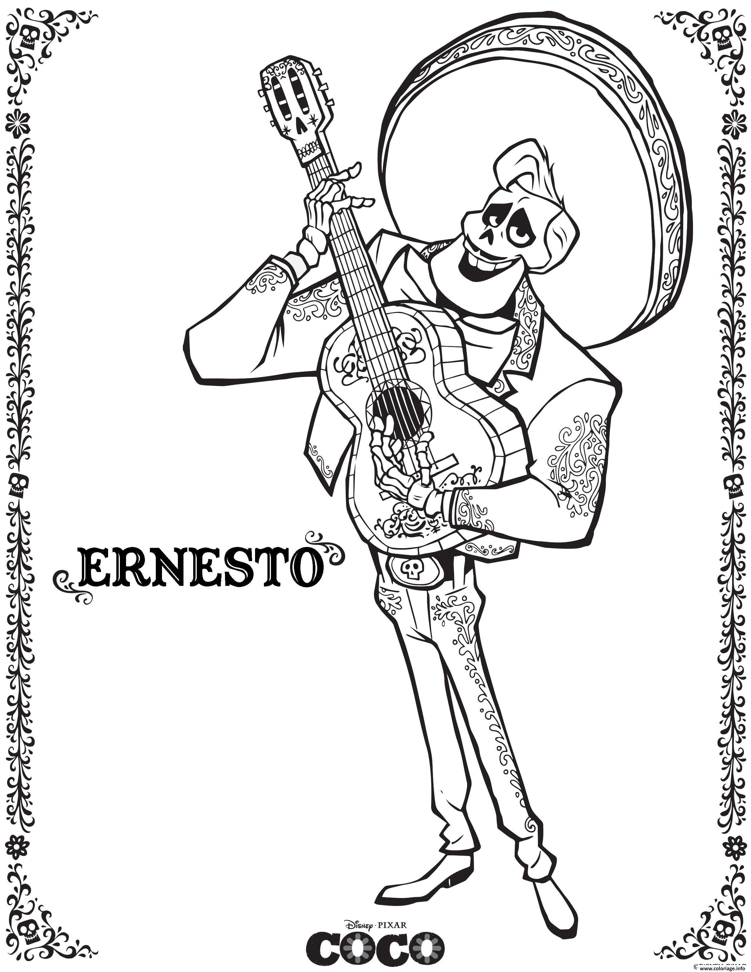 Coloriage Ernesto Coco Disney Dessin à Imprimer  Coloriage reine