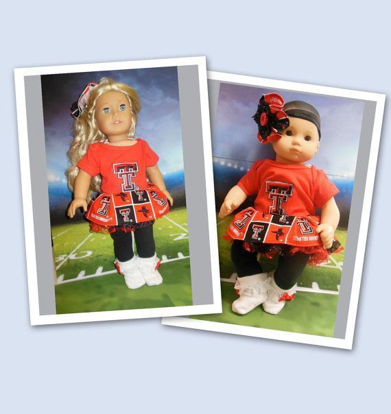 American girl doll clothes Bitty Baby doll clothes Go Red Raiders ensemble (18 inch) cheerleader outfit Red Raider tutu Texas Tech hair #18inchcheerleaderclothes Perfect gift from Daddy to Daughter...Picture your husband and your daughter sitting on the couch together watching the game! American girl doll clothes Bitty Baby doll clothes by TheDollyDama, $20.00 #18inchcheerleaderclothes American girl doll clothes Bitty Baby doll clothes Go Red Raiders ensemble (18 inch) cheerleader outfit Red Rai #18inchcheerleaderclothes
