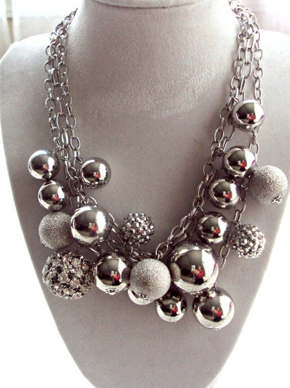 Chunky Choker Silver Bubble Necklace Statement Necklace by 4YJD, $22.50