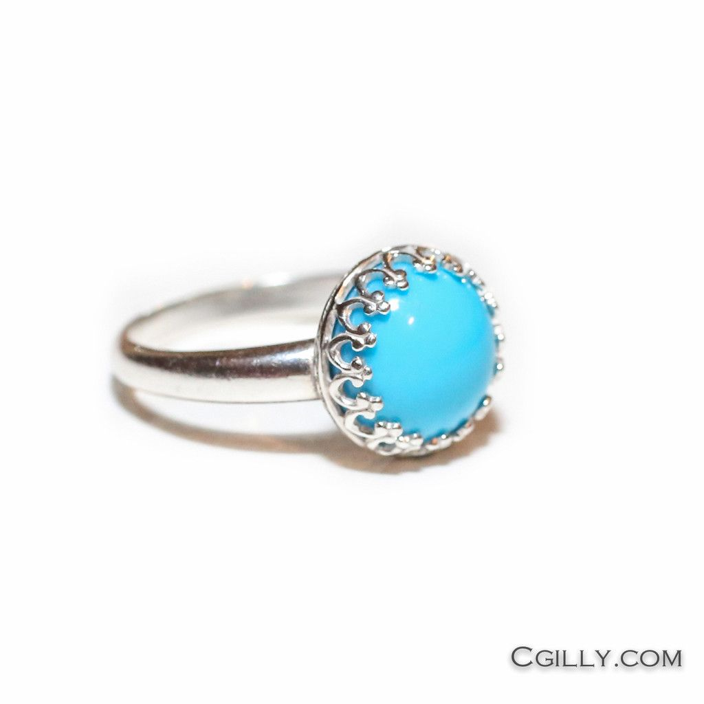 Ring - Sleeping beauty Turquoise and Sterling Silver > love the crown mounting,