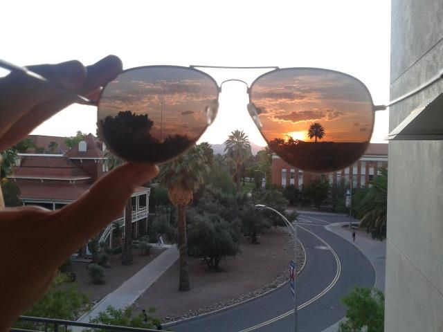 Sunset with Glasses. Great shot.