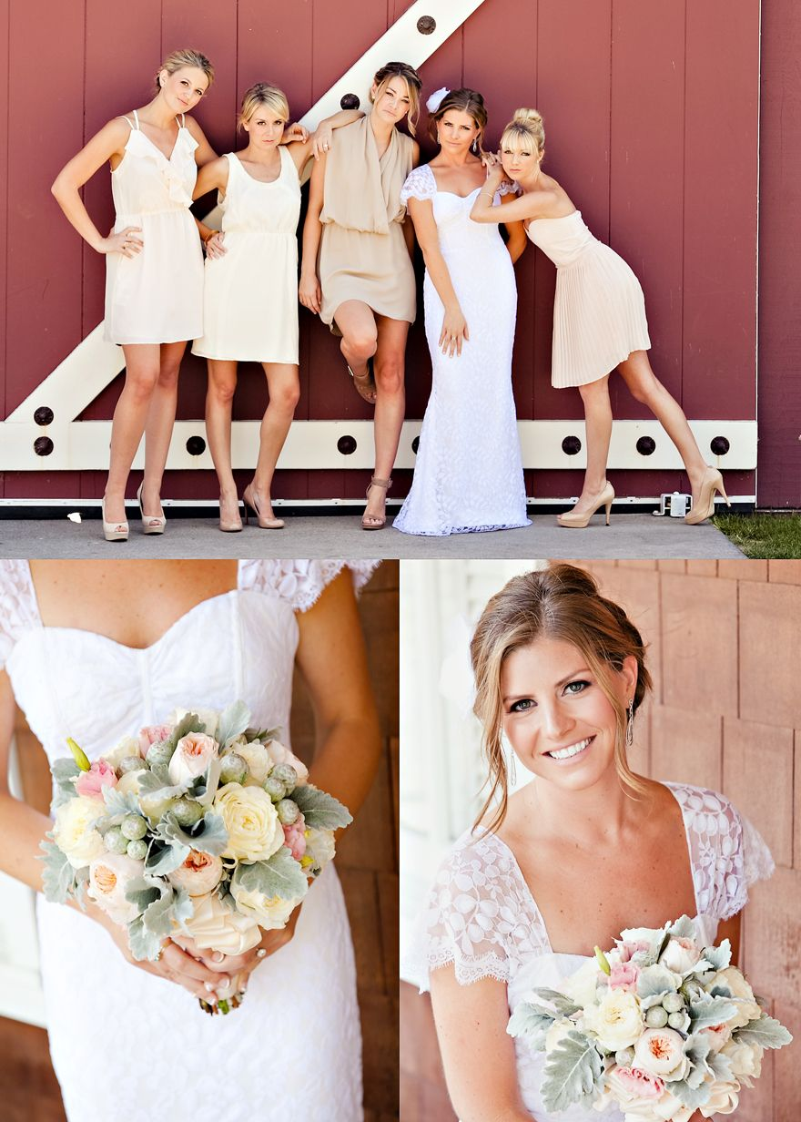 Bridesmaids dresses short cream color beige off white ruffles all nude pumps ombrellifo Images
