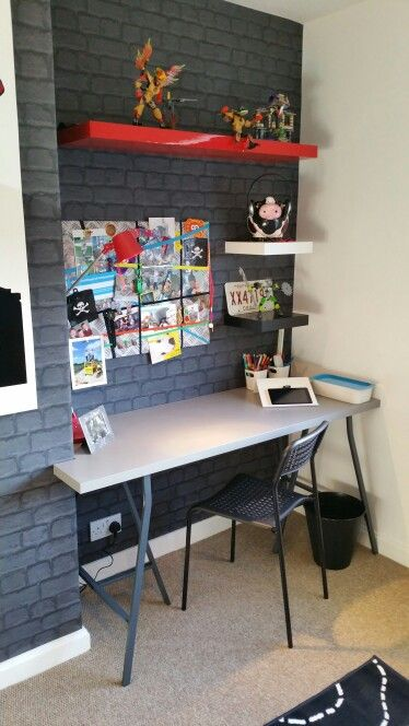 Boys Room Brick Wallpaper Funky Grey Bedroom Chimney T Desk Created By Linndesigns In Collaboration With Peter Mcmurray Decorators