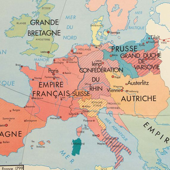 Vintage Map Of Europe Circa 1960 Shows Napoleonic Empire French