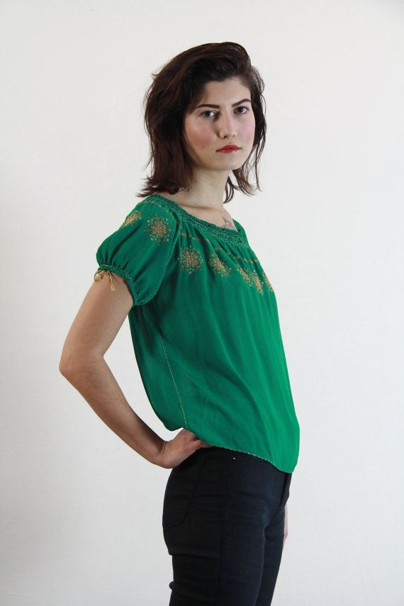 Antique 20s Embroidered Blouse  Flapper  Kelly Green by VeraVague, $175.00