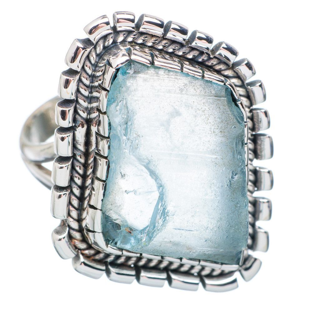 Rough Aquamarine 925 Sterling Silver Ring Size 9 RING735321