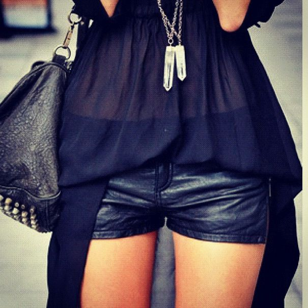 black sheer top, leather shorts..i feel like mine are too short though, need another pair maybe