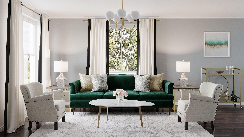 Glam Transitional Living Room Design