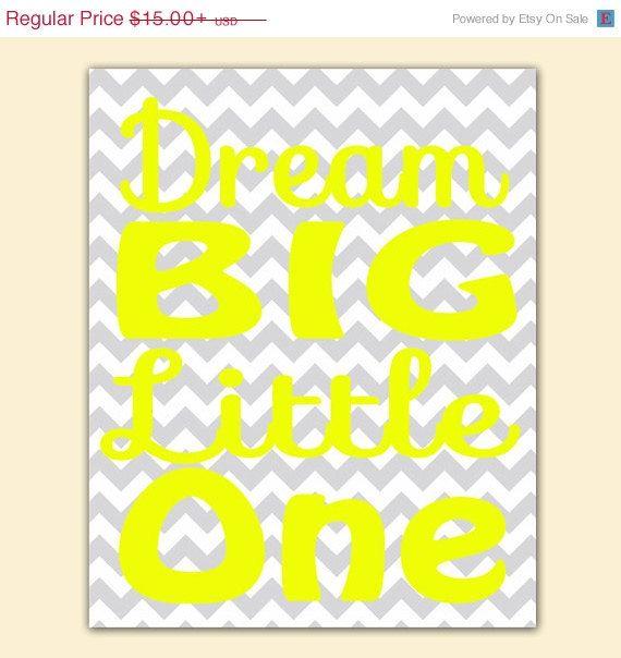 ON SALE Dream Big Little One Yellow Gray Chevron Decor Wall Art Sign ...