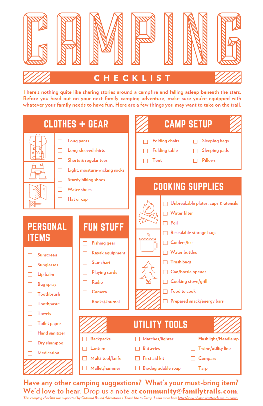 print this free camping checklist from familytrails outward bound