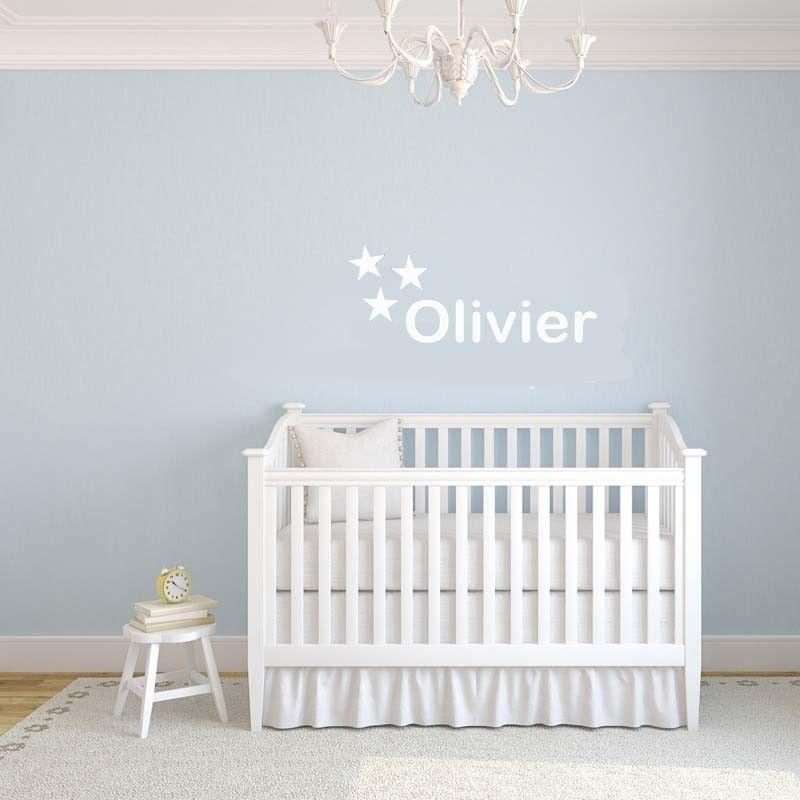 babykamer of kinderkamer muursticker naam 3 sterren, Deco ideeën