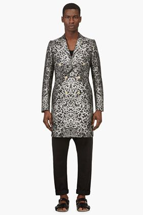 ALEXANDER MCQUEEN Black & Grey Jacquard Double Breasted Coat --- Talk about a jacket born to turn heads.