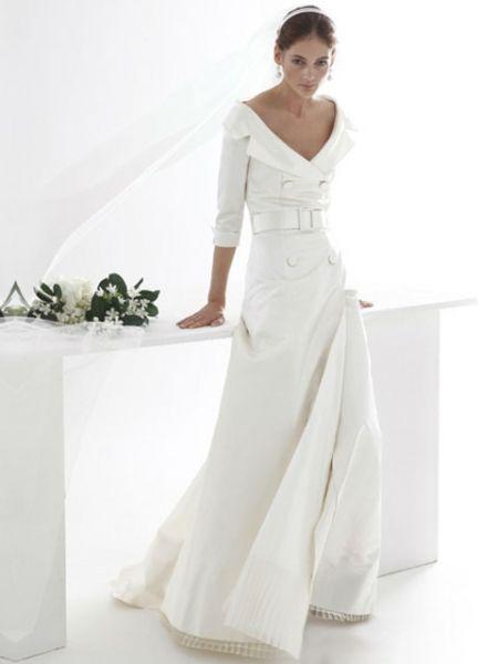 vestido de novia cuello bote tipo abrigo | bodas | pinterest | robe