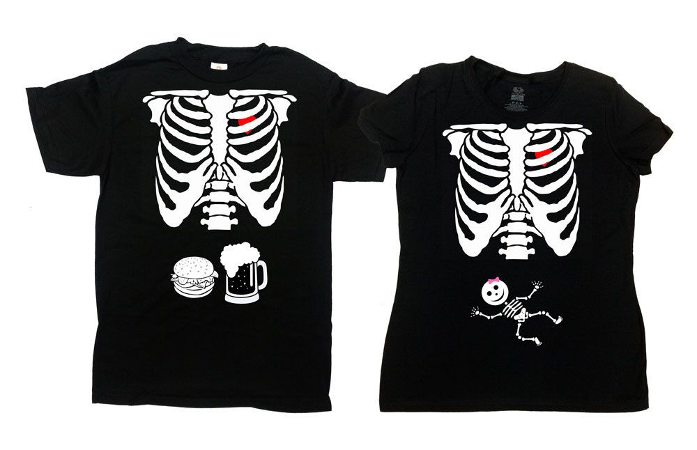 Halloween Baby Announcement, Baby Reveal Shirts Halloween, Matching Pregnancy Reveal Shirts, Halloween Skeleton Matching Pregnancy Shirts