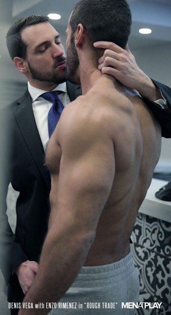 Hairy men kissing men