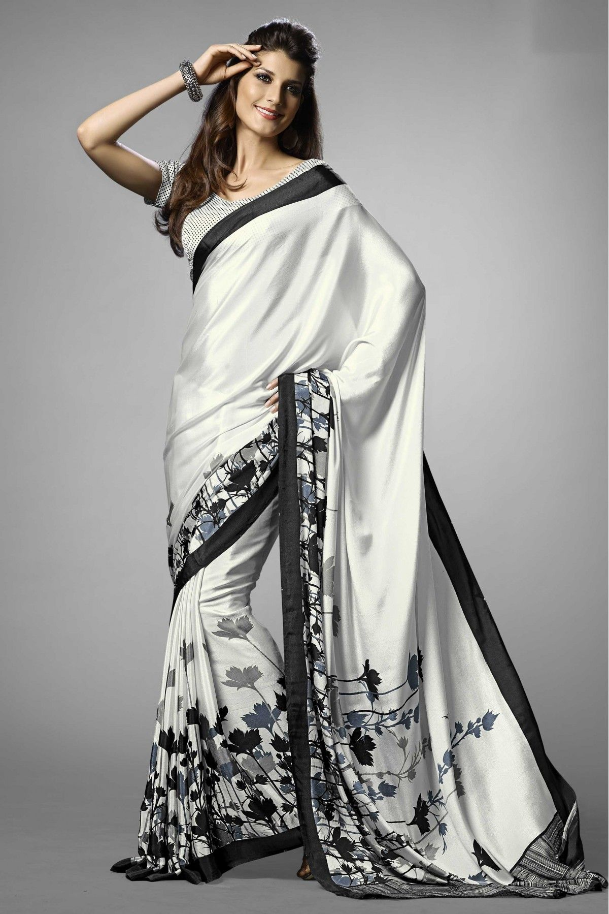 7e6d1fe5f5 Black and White Colour Crepe Fabric Saree Comes With Matching Blouse. This  Saree Is Crafted
