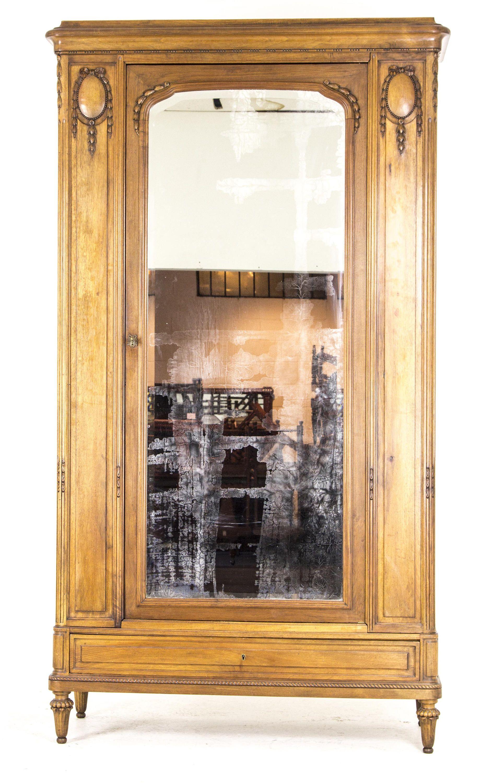 com single talentneeds mirror door with closet armoire beveled wardrobe french mirrored antique walnut