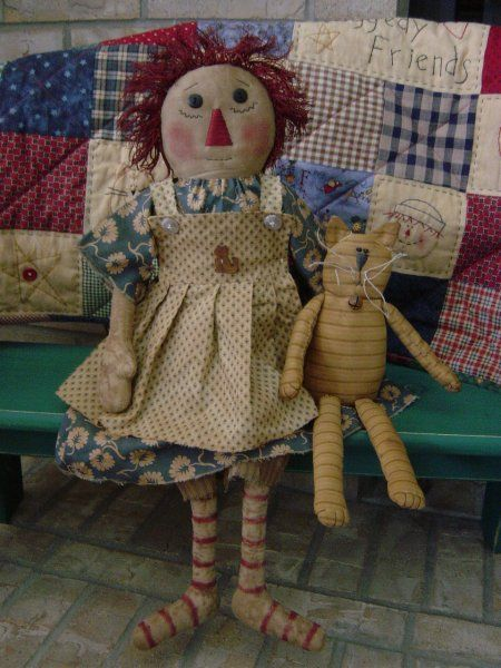 Primitive Raggedy Doll Loretta and Jo Jo the Cat Pattern 54 $6.00