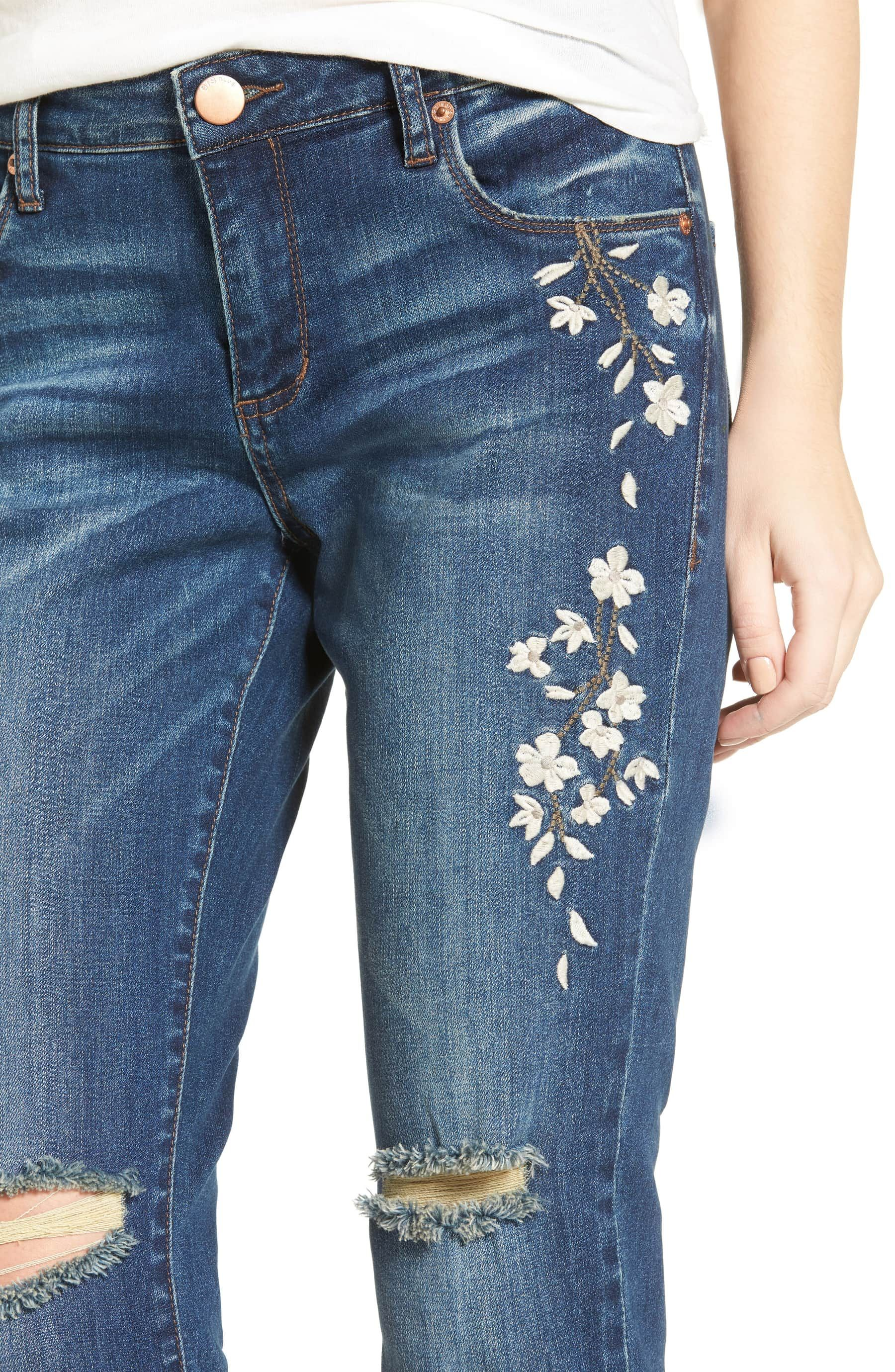 Womens Slim Skinny Embroidered design Jeans Blue faded Sizes UK 6-14