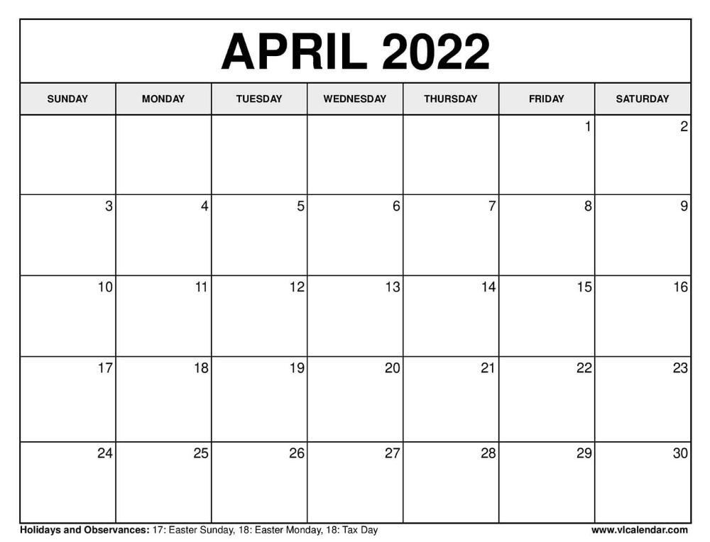 Printable April 2020 Calendars in 2020 Tax day, Calendar
