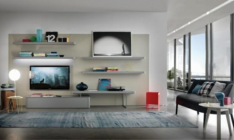Integrierte TV-Möbel mit Bibliothek - 75 moderne Ideen Haus