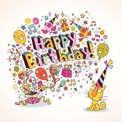 Comic or funny about artists google search art licensing happy birthday holiday card with balloons sweets confetti 25 eps bookmarktalkfo Images