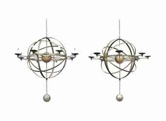 A pair of green and gilt decorated tole armillary sphere chandeliers a pair of green and gilt decorated tole armillary sphere chandeliers aloadofball Image collections