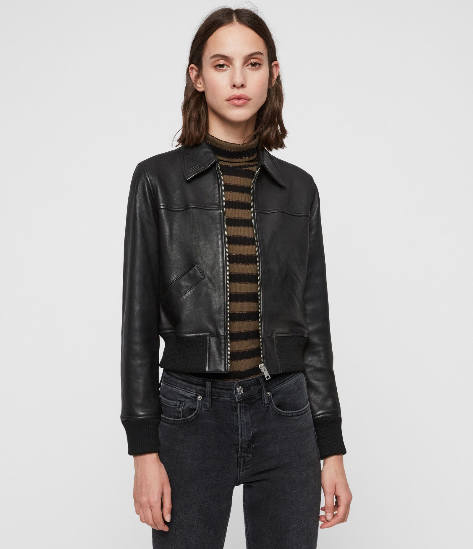 Allsaints Us Womens Pascao Leather Bomber Jacket Black Leather Jackets Women Leather Jacket Black Bomber Jacket [ 1856 x 1600 Pixel ]