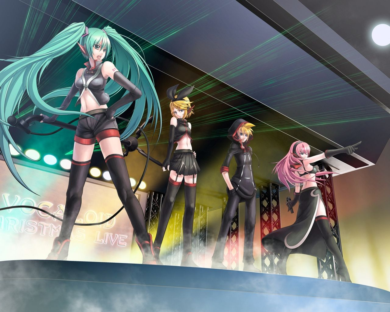 1280x1024 Wallpaper Anime Vocaloid Miku Girl Singer Stage